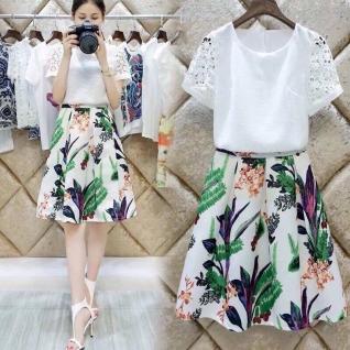 Set bộ áo phối tay ren hoa +váy xòe hoa văn cây lá