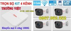Trọn Bộ 4 camera Global liền nguồn - khuyến mại ổ cứng 1Tb