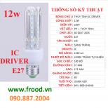Bóng đèn LED 3U 12w E27