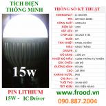 LED tích điện IC 15W E27 Lithium 18650