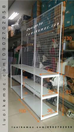 Kệ lưới 3 tầng (mặt gỗ trắng/đen)