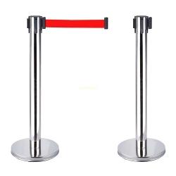 Cột chắn inox dây đỏ 2.0m