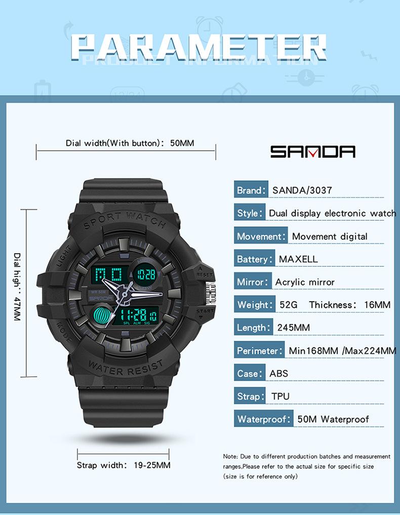 kích thước đồng hồ sanda thể thao 3037