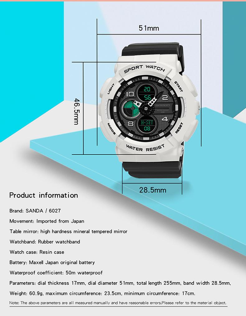 đồng hồ sanda 6027 black white