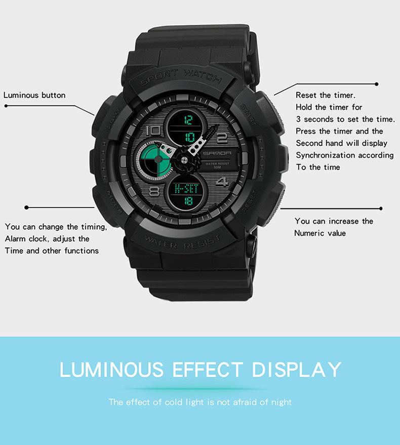 đồng hồ sanda nam nữ 6027 đen