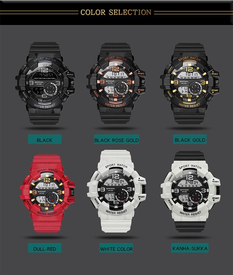 màu sắc đồng hồ điện tử sanda chính hãng chống nước - by heo con store