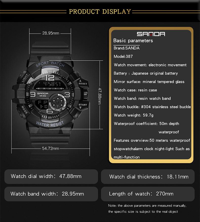 đồng hồ điện tử sanda 387 chính hãng