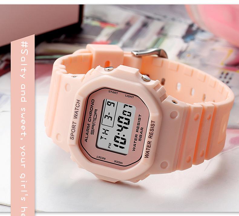 đồng hồ nữ điện tử mặt vuông sanda