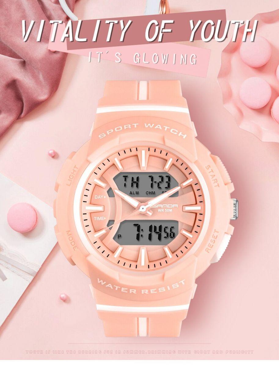 đồng hồ thể thao nữ sanda 3003 đa màu sắc