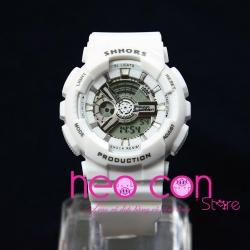 Đồng hồ Thể thao Điện tử SHHORS Full White Xinh xắn - Size 43mm