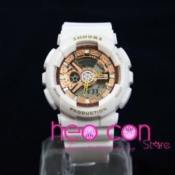 Đồng hồ Thể thao Điện tử SHHORS Nữ White Rose Gold - Size 43mm