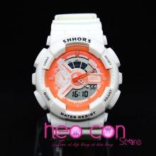 Đồng hồ Thể Thao SHHORS Nam Nữ Trắng Cam Cá Tính - Size 50mm