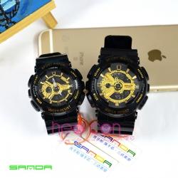 Cặp Đồng hồ Thể Thao SANDA Chính Hãng - 05 (Đen Gold)