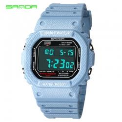 Đồng hồ Điện tử SANDA Mặt Vuông Chống Nước - 339G(Denim Nhạt)