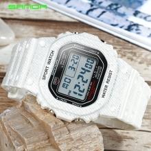 Đồng hồ Điện tử SANDA Mặt Vuông Chống Nước - 339G(Denim Trắng)