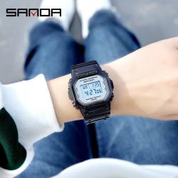 Đồng hồ Nam Nữ SANDA Điện Tử Mặt Vuông Dây Trong - 2009 Mới