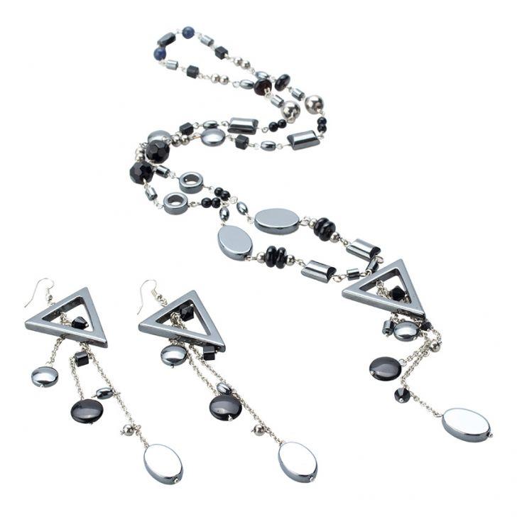 Madam Dzi MDVC15 - Bộ vòng cổ đá thiên nhiên mặt tam giác